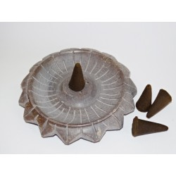 Lotus flower incense holder 9 cm diameter soapstone