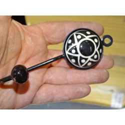 round coat hook with embossed black star