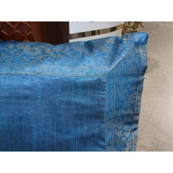 60x60 pillow cover in turquoise taffeta and brocade edge
